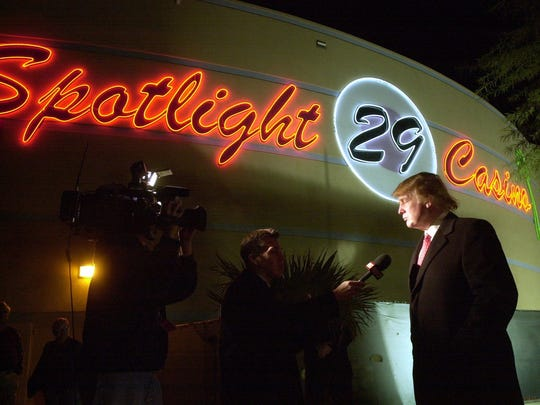 Donald Trump during a visit at the Spotlight 29 Casino.