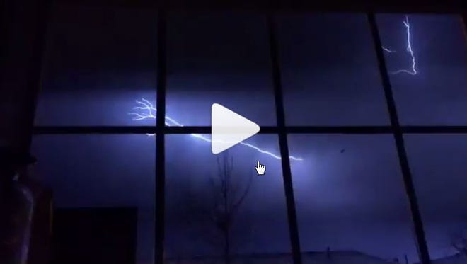 A screen shot of a video shows a lightning storm hit Nashville Monday, March 20, 2017.