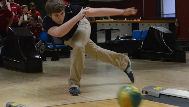 Gibsonburg's Austin Dix competes during a bowling match against Port Clinton on Thursday, Jan 22, 2015.
