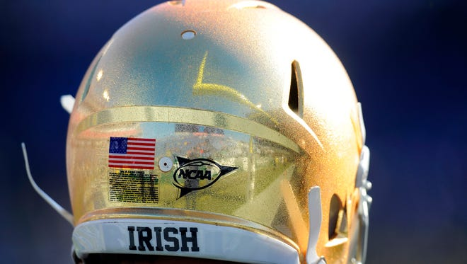 Dec 30, 2014; Nashville, TN, USA; Detail view of a Notre Dame Fighting Irish helmet prior to the game against the LSU Tigers in the Music City Bowl at LP Field. Mandatory Credit: Christopher Hanewinckel-USA TODAY Sports