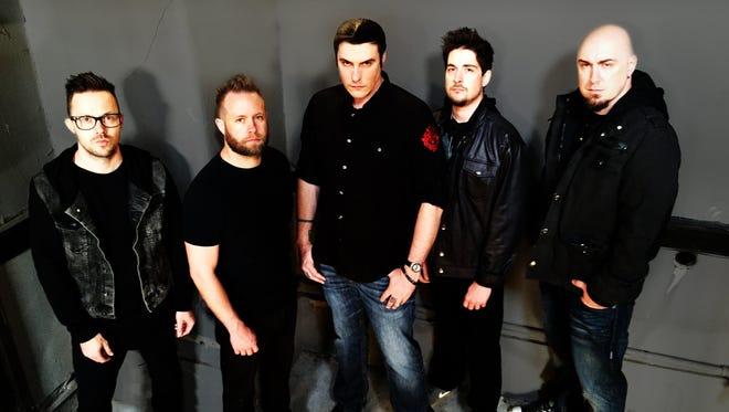 The members of Breaking Benjamin, from left: Keith Wallen, Jasen Rauch, Benjamin Burnley, Shaun Foist and Aaron Bruch.