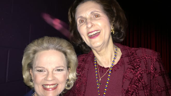 Peggy Wallace Kennedy, left, poses with Lynda Byrd Johnson Robb, the daughter of former president Lyndon Johnson.