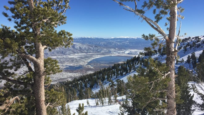 Washoe Lake as seen from Slide Mountain during the winter of 2015-16.