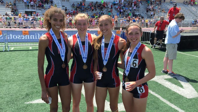 The Rocori 1,600-meter relay team of Jayda Woods (from left), Kaitlyn Wolf, Carly Kremer and Brynn Sauer took third Saturday at the state meet.