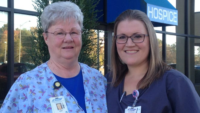 Judy Haskins and Brandi Stanfill are hospice nurses for West Tennessee Healthcare.
