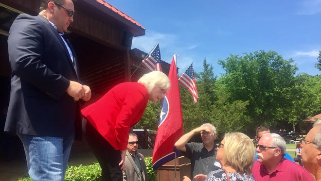 Sen. Mae Beavers, R-Mt. Juliet, greets fans after announcing she will make a bid for governor of Tennessee on June 3, 2017 at Charlie Daniels Park in Mt. Juliet.