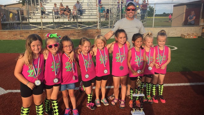 The Diamond Divas are the second-place winners of the National Division, 8 years old and younger, Sunrise Optimist Girls Softball League. From left are Abigail Reid, Jocln Flickinger, Addison Ayala, Emily Luna, Aleigh Brock, Malory Skelton, coach Scott Brock, Lanie Jaramillo, Greenlee Lennon and Samantha Little. Not pictured are Hadleigh Brand, Hadley McMurry, Andrea Evangelista, Samantha Nelson, Tessa Henderson and Kylie Thomas.