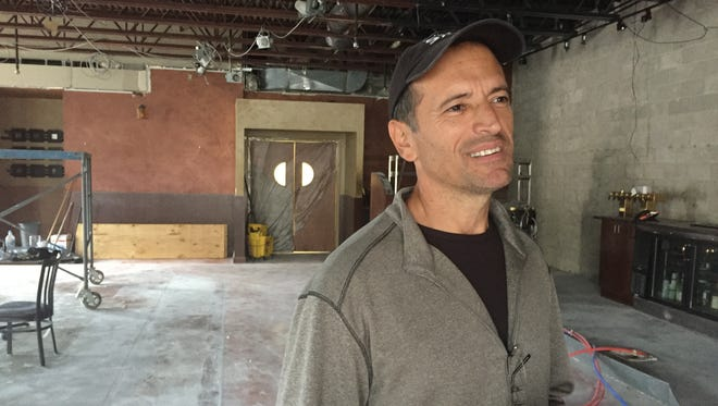Restaurateur Lou Lucaj talks about plans for a new southern cooking restaurant he and his sisters Elena Borg and Hana Filipovic will open in the former The Main Crossing Bar & Grille building in downtown Brighton, in this Thursday, Sept. 7, 2017 photo. The siblings own and operate Brighton Bar and Grill, a few doors down from their new joint.