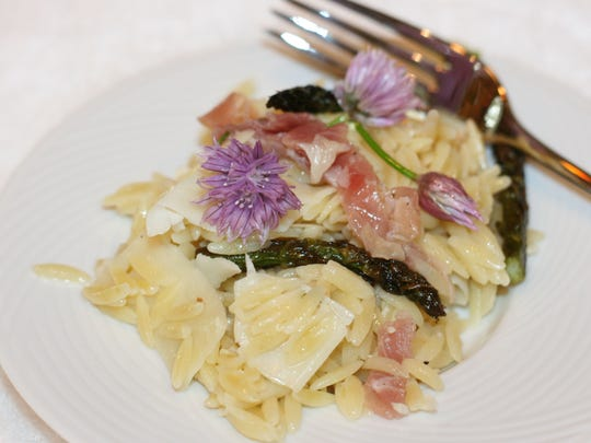 Orzo Salad with Prosciutto Ribbons, Roasted Asparagus