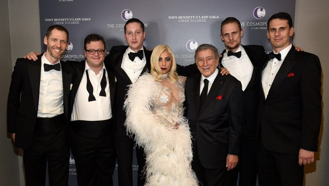 Lady Gaga and Tony Bennett with the Brian Newman Quintet, left to right: Alex Smith (piano); Scott Ritchie (bass); Brian Newman (trumpet and vocals); Steve Kortyka (tenor sax); and Paul Francis (drums).
