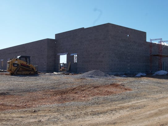 The front of the new Marion County jail is seen from