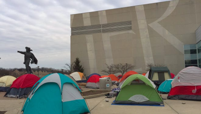 About 500 Xavier students registered to camp outside Cintas Center Friday night through Saturday morning for priority seating order for the 2:30 p.m. Xavier-Villanova game.