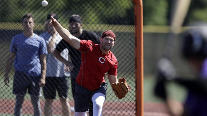 Cincinnati Reds pitcher Justin Shafer throws during a Friday workout in Westfield, Ind.