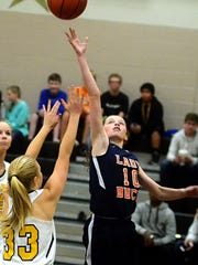 Hunter Middle School guard Jana Claire Swafford releases