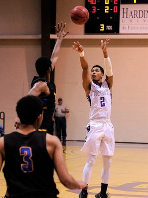 Hardin-Simmons senior guard Joe Hoeup takes a shot during Saturday's ASC game against LeTourneau.