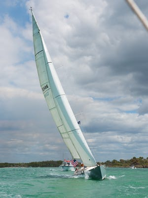 Finn heels over in the brisk breeze during the Sailing Heals event. Sailing Heals, a nonprofit set up to take cancer patients and caregivers out sailing, organized a sail on March 8 with 30 guests going out of the Naples Sailing & Yacht Club with four volunteer sailboat skippers.