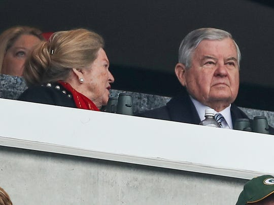 Panthers owner Jerry Richardson watches his team during