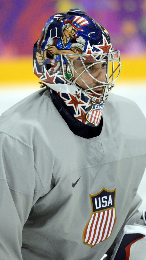 Buffalo Sabres star Ryan Miller of the U.S. Olympic hockey team.