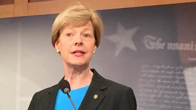 Sen Tammy Baldwin, D-WIs., discusses proposed legislation to limit the volatility of crude oil shipped by rail on Wednesday in Washington.