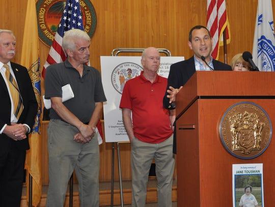 From right: Metuchen Mayor Jonathan Busch, Sen. Patrick