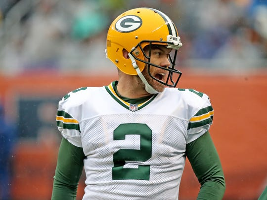 Packers kicker Mason Crosby reacts after kicking a 50-yard field goal against the Chicago Bears on Nov. 12, 2017.