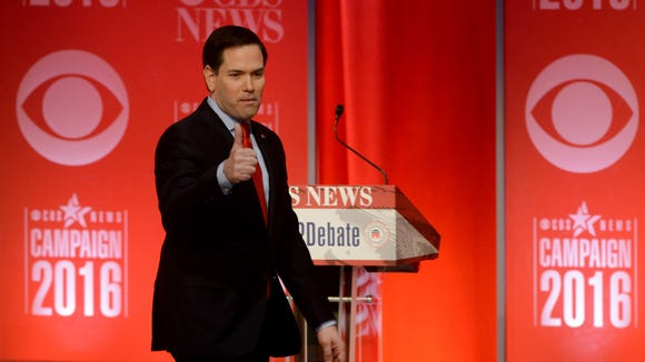 Marco Rubio gives a thumbs-up the Republican debate