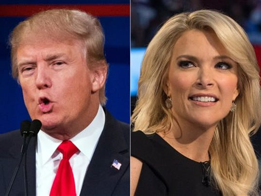 This combination made from Aug. 6, 2015 photos shows Republican presidential candidate Donald Trump, left, and Fox News Channel host and moderator Megyn Kelly during the first Republican presidential debate at the Quicken Loans Arena, in Cleveland. Trump had already slammed the president, Democratic front-runner Hillary Rodham Clilnton and his Republican rivals in the race for the White House. To that fast-growing list he has now added Kelly. (AP Photo/John Minchillo)