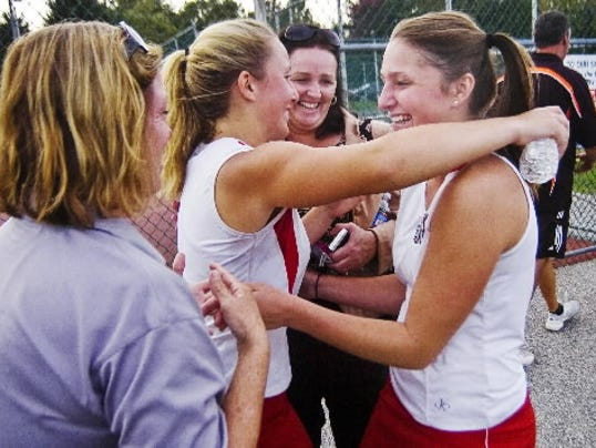 Susquehannock's Katie Wagner, right, celebrated her first YAIAA singles title as a sophomore. She repeated last year and goes for a three-peat this year. (GAMETIMEPA.COM -- FILE)