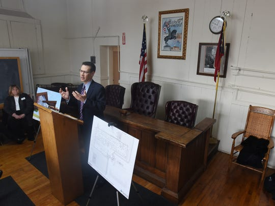 Genesis HealthCare CEO Matt Perry talks about the new Genesis Perry County Medical Center during a press conference at Somerset village hall on Friday.