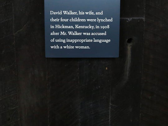 An epitaph is on display at the National Memorial for Peace and Justice, a new memorial to honor thousands of people killed in racist lynchings, Sunday, April 22, 2018, in Montgomery, Ala. The national memorial aims to teach about America's past in hope of promoting understanding and healing. It's scheduled to open on Thursday. (AP Photo/Brynn Anderson)