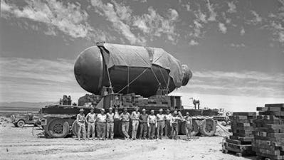 """Jumbo - The 25-foot-long, 10-foot-wide concrete encasement, which was nicknamed """"Jumbo"""" was never used in the testing of the atomic bomb. Yet, one story associated with the naming of the Trinity site has an Army major saying it would take the holy trinity and a miracle to get the """"jug"""" from the Santa Fe Railway to the test site."""