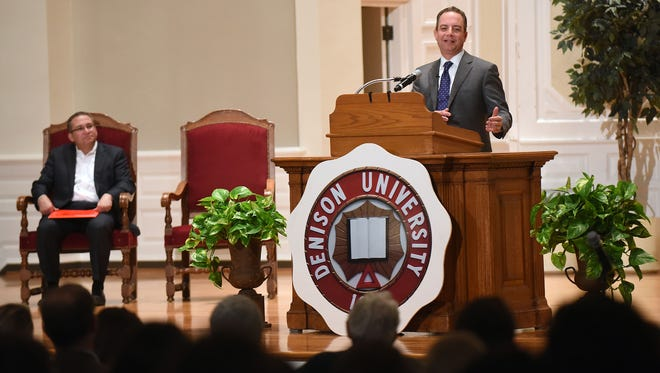 """Former White House Chief of Staff Reince Priebus speaks on Monday night at Swasey Chapel on the campus of Denison University. Priebus was hosted by The Mary Elizabeth Babcock Lectureship in the American Conservative Tradition presenting a lecture, """"A 360-Degree View of Washington."""" Priebus was also the longest serving chair of the Republican National Committee."""
