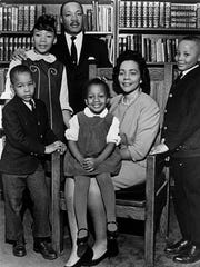 This 1966 file photo is the last official portrait taken of the entire King family, made in the study of Ebenezer Baptist Church in Atlanta. From left are Dexter King, Yolanda King, Martin Luther King Jr., Bernice King, Coretta Scott King and Martin Luther King III. A judge in Atlanta is set to hear motions Tuesday in the legal dispute that pits Martin Luther King Jr.'s two sons against his daughter Bernice in a dispute over two of his most cherished possessions.