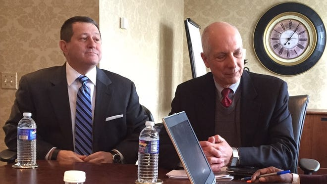 Assembly Leader Joseph Morelle, left, and United Way president and chief executive officer Peter Carpino meet with members of the Democrat and Chronicle editorial board on Wednesday.