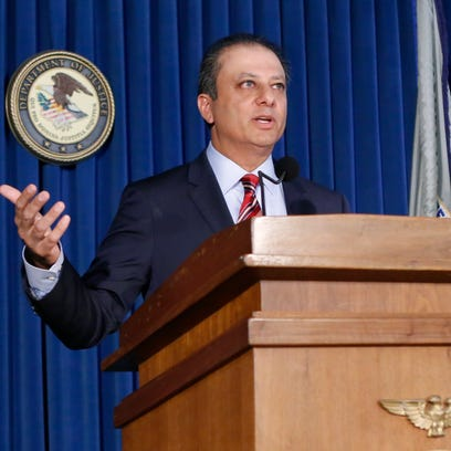 U.S. Attorney Preet Bharara speaks during a news conference