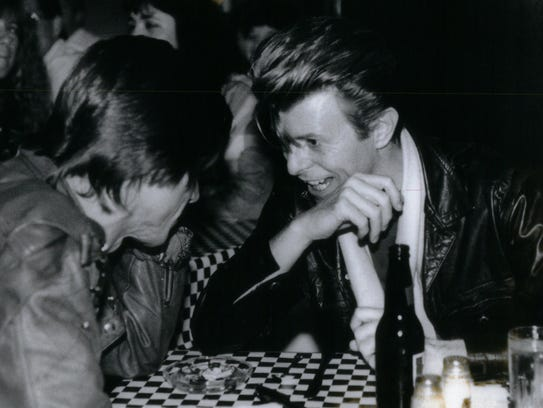 David Bowie (right) and Iggy Pop in Royal Oak in June