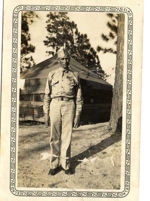 Horace Harrod at base camp in World War II.