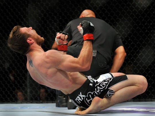 Whippany's Dan Miller celebrates his victory over Ricardo Funch in a welterweight bout during UFC on FX 4 at Revel Resort and Casino.