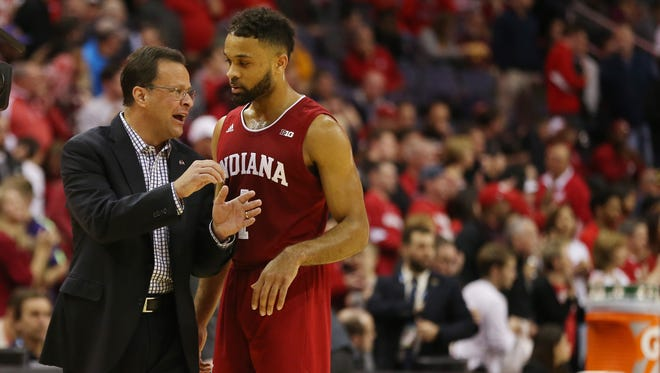 Mar 10, 2017; Washington, DC, USA; Indiana Hoosiers head coach Tom Crean (L) talks with Hoosiers guard James Blackmon Jr. (1) against the Wisconsin Badgers in the first half during the Big Ten Conference Tournament at Verizon Center. Mandatory Credit: Amber Searls-USA TODAY Sports