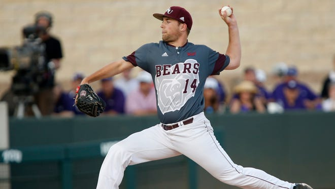 Jordan Knutson delivers a pitch during the MSU Bears game against the TCU Horned Frogs in the first game of the Super Regional at Lupton Stadium in Fort Worth, TX on Saturday, June 10, 2017.