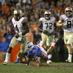 Florida State tailback Dalvin Cook sprints for yardage in the Seminoles' game at Florida last season.