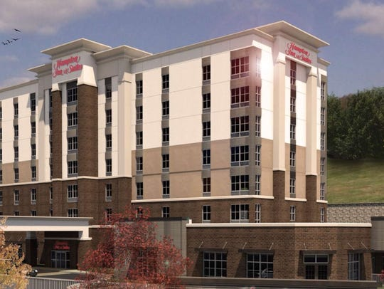 A rendering of the Hampton Inn & Suites planned near