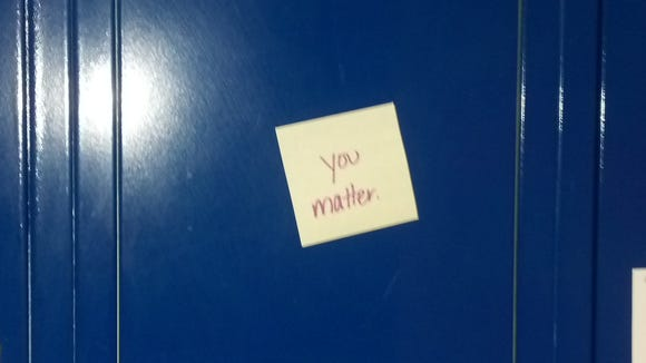 Locker with a note.