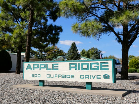 The entrance to the Apple Ridge Apartments is pictured on Oct. 9 in Farmington.