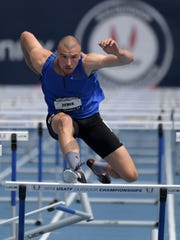 Zach Ziemek runs 14.63 in the decathlon 110m hurdles during the USA Championships at Drake Stadium.