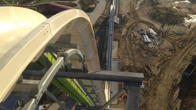 This image by the MidwestInfoGuide shows the under-construction Verruckt Meg-A-Blaster, set to open in May at the Schlitterbahn Kansas City park.