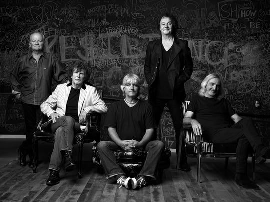 The current lineup of the Zombies: Jim Rodford (left to right) on bass, Rod Argent on keyboards/vocals, Steve Rodford on drums, Colin Blunstone on lead vocals and Tom Toomey on guitar.