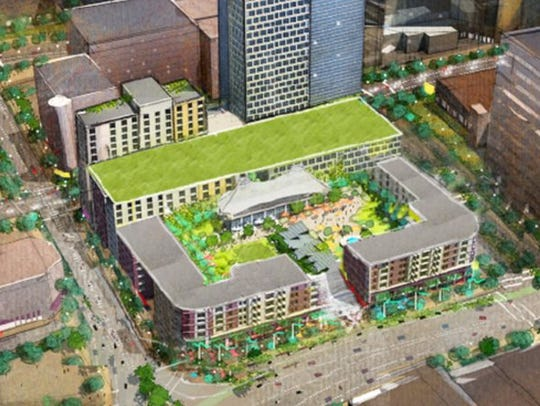Rendering of mixed-use developmenet proposed for site