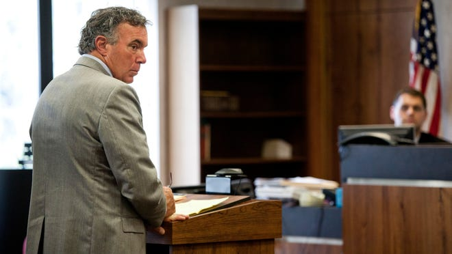 Former parks supervisor Tim Hickey stands at the podium during his sentencing Tuesday, May 26, 2015 in the courtroom of judge Cynthia Lane at the St. Clair County Courthouse. Hickey was sentenced to 1 1/2 years probation after pleading guilty to attempted embezzlement by an agent of trustee, $1,000 or more but less than $20,000.Former parks supervisor Tim Hickey stands at the podium during his sentencing Tuesday, May 26, 2015 in the courtroom of judge Cynthia Lane at the St. Clair County Courthouse. Hickey was sentenced to 1 1/2 years probation after pleading guilty to attempted embezzlement by an agent of trustee, $1,000 or more but less than $20,000.