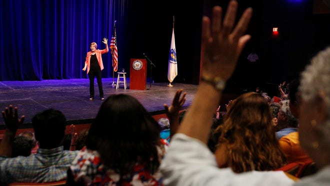 Senator Elizabeth Warren, D-Mass., speaks to a packed house during a town hall-style meeting on Saturday, July 8, 2017 at Berkshire Community College's Robert Boland Theater in Pittsfield.